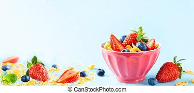 flakes., pequeno almoço, natural, gluten, yogurt, livre, milho, bagas