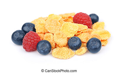 Flakes with raspberry and blueberry berries