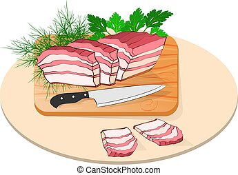flaky lard on a board with a knife and greens. Made in ...