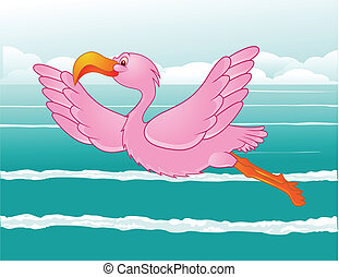 flamant rose, vol