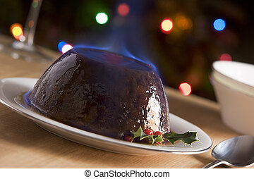 flambe, pálinka, puding, karácsony