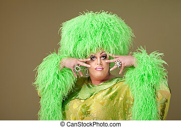 Flamboyant Drag Queen - Flamboyant drag queen in boa hat on...