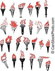 flamboyant, torches, à, rouges, flammes
