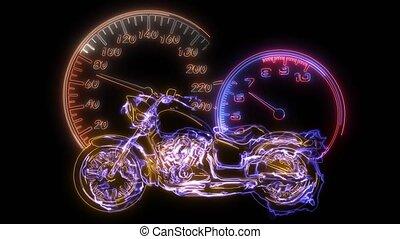 flamboyant, vélo, vue frontale, couperet, cavalcade, vidéo