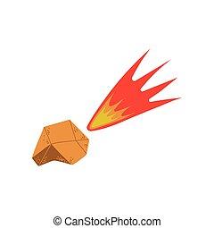 flamboyant, voler, espace, météorite, élément, thème, vecteur, conception, illustration, cosmos, dessin animé