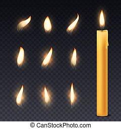 flame., ロマンチック, 燃焼, 火, 蝋燭, ワックス, の上, 装飾, 夕食, 暖かい, ライト, 終わり, ...