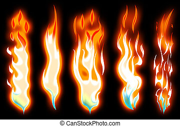 3d rendering of red hot flame shapes