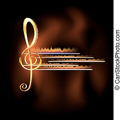 flame and music - abstract dark background and big golden...