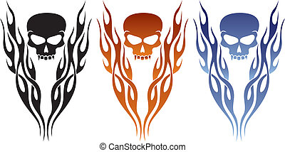 Flame and Skull Tattoo - A great tattoo or decal design.