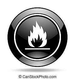 flame black glossy icon