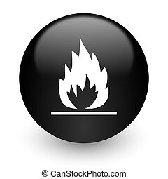 flame black glossy internet icon - black glossy computer...