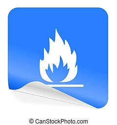 flame blue sticker icon