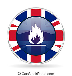 flame british design icon - round silver metallic border button with Great Britain flag