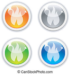 Flame buttons.