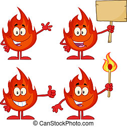 Flame Character 3. Collection Set - Flame Cartoon Mascot...