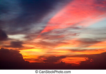 flame colorful cloud and evening sky and ray light of sunset