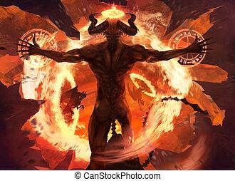 Flame demon. - Burning diabolic demon summons evil forces...