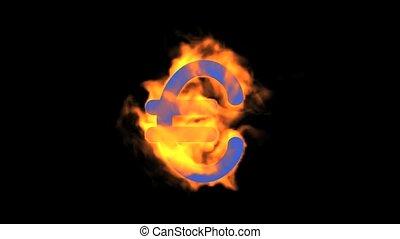 flame Euro symbol.