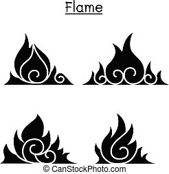 Flame, fire, burn vector