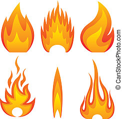 flame fire - Illustration of flame fire, set. Vector.