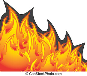 Flame fire isolated on the white. Vector illustration