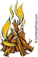 Flame fire of campfire with firewood. Eps10 vector illustration. Isolated on white background