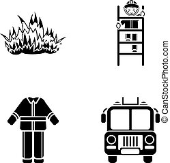 Flame, fireman on the stairs, uniform, fire truck.Fire department set collection icons in black style vector symbol stock illustration web.