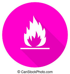 flame flat pink icon