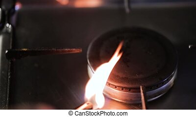 Flame from the burner of a gas stove