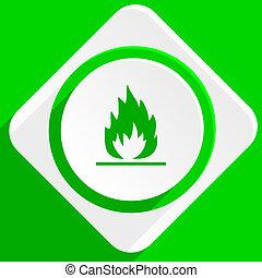flame green flat icon