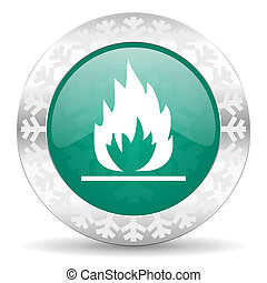 flame green icon, christmas button