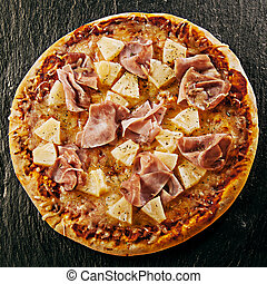Flame grilled speciality Hawaiian Italian pizza