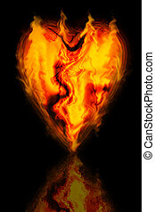 Flame Heart - Burning heart of flames. With reflection.