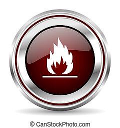 flame icon chrome border round web button silver metallic pushbutton