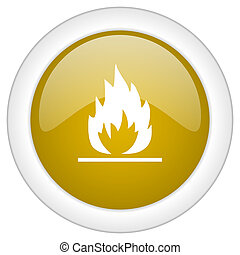 flame icon, golden round glossy button, web and mobile app design illustration