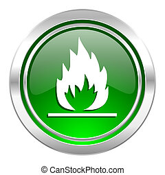 flame icon, green button
