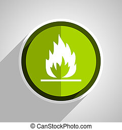 flame icon, green circle flat design internet button, web and mobile app illustration