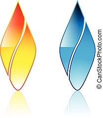 Flame icon isolated on a white background. Illustration, ...
