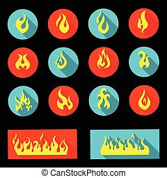 Flame Icon Set - Vector Illustration