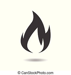 Flame icon - simple flat design isolated on white background, vector