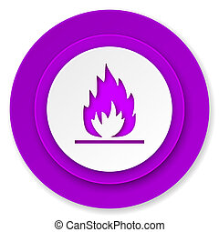 flame icon, violet button