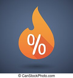 Flame icon with a discount sign