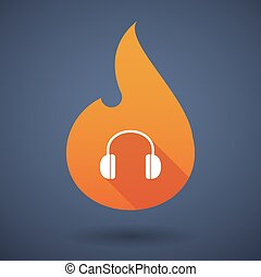 Flame icon with a earphones