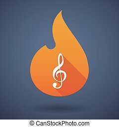 Flame icon with a g clef - Illustration of a flame icon with...