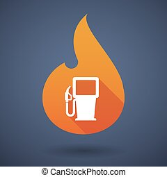 Flame icon with a gas station