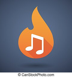 Flame icon with a note music