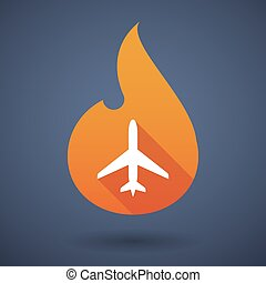 Flame icon with a plane