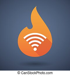 Flame icon with a radio signal sign