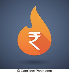 Flame icon with a rupee sign