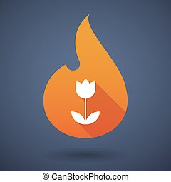 Flame icon with a tulip